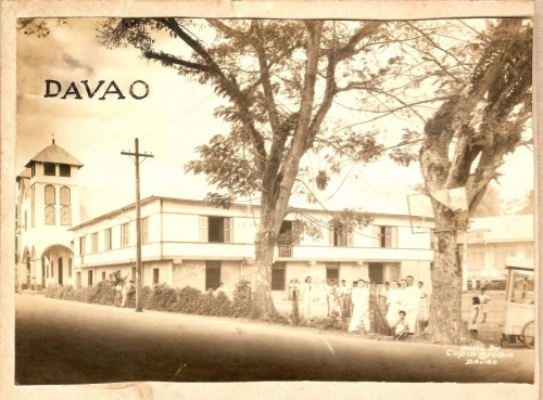 San Pedro Parish and Convent in the 1930s. Courtesy of Jesuit Archives; Side by side with Davao Photo 3; write below: Interior of San Pedro Parish in 1936. Courtesy of Jesuit Archives.